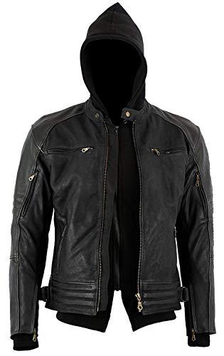 Bikers Gear Australia Limited The Craig giacca moto nabuk cerato in pelle bovina con cappuccio con 5punti Armour Full, nero, antracite nero, taglia L