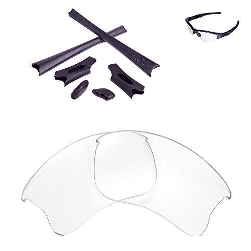 Walleva Ersatzgläser oder Linsen/Gummisatz für Oakley Flak Jacket XLJ Sonnenbrille - 26 Optionen (Klar Nicht polarisierte Linsen + schwarzer Gummi)