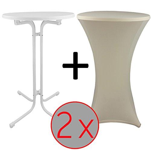 proheim Steh-Tisch Set mit passender Stretch-Husse Bistro-Tisch / Klapp-Tisch mit elastischer Stehtisch-Husse, Farbe:Ecru, Menge:2er Set, Größe:Ø 70 cm (Klapp-tische Für Partys)