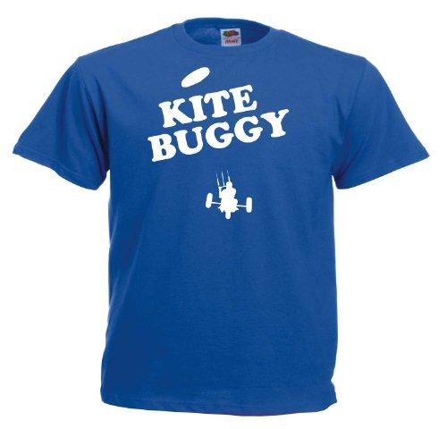Kitebuggy II T249 Unisex T-Shirt Textilfarbe: blau, Druckfarbe: weiß