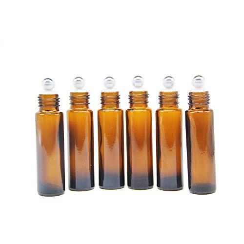 One Trillion Braune Roll On Flasche Leer 10ml, Roll-on Glasflaschen Klein mit Edelstahl-Roller Ball,fürÄtherisches Öl,Aromatherapie-Gemische,Parfüm,Massage - 6Pcs