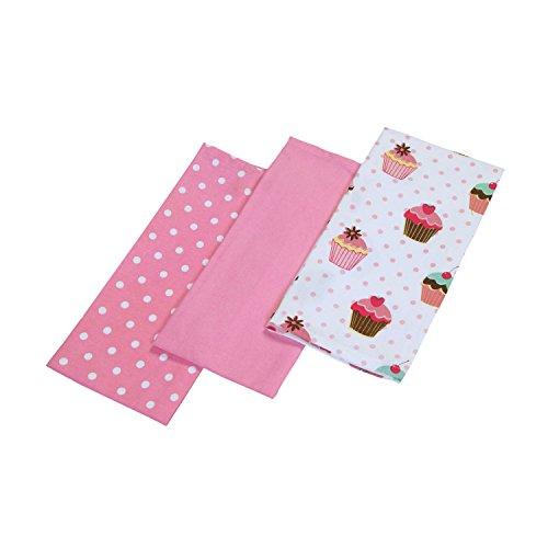 Homescapes Geschirrtücher Set Cup Cakes 3tlg, rosa weiß ca. 50 x 70 cm, Geschirrhandtücher aus 100% reiner Baumwolle, waschbare Trockentücher Geschirr Rosa Küche