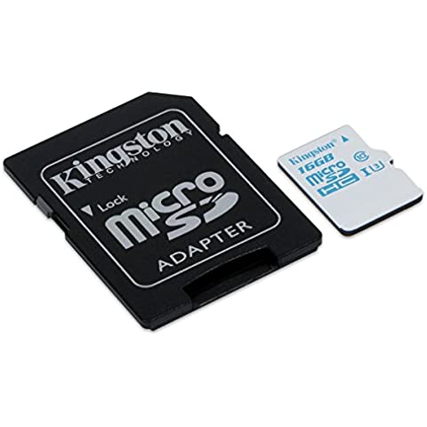 Kingston SDCAC/16GB - Tarjeta de memoria microSD de 16 GB para Action Camera (UHS-I U3, para GoPro y drones, con adaptador