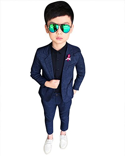 DianShao Jungen 2 Stück Formal Anzug Sets Einfarbig Kinderkleid Festliche Kleidung Hochzeit Blau Grau 130