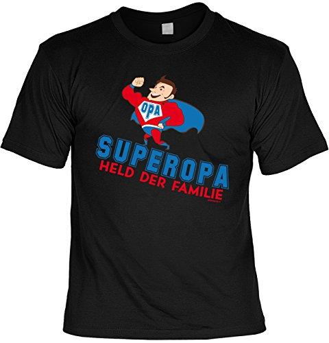 T-Shirt für Opa: Superopa. Held der Familie - Geschenk, Geburtstag - schwarz Schwarz
