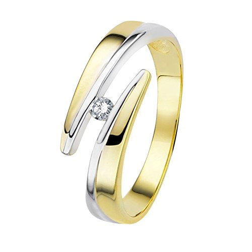 Diamond Line Diamant-Ring Damen Gold mit 1 Brillianten, Diamantring Lupenrein (2 Karat Diamant Solitaire Ring)