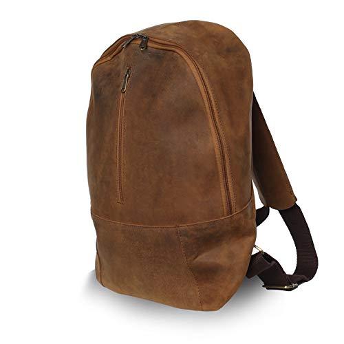 NAMA 'John' Daypack Rucksack Büffel Leder Tagesrucksack Lederrucksack für Damen und Herren Vintage Laptoprucksack Backpack Wanderrucksack Naturleder Braun