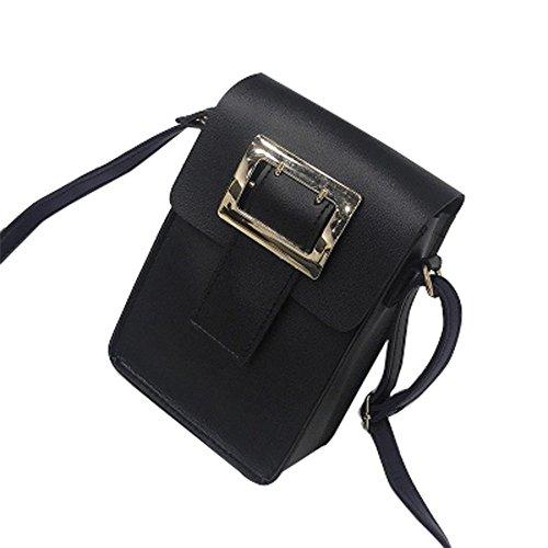 Longra Donna Borsa quadrata trasversale obliqua del sacchetto del telefono mobile della traversa della spalla Nero