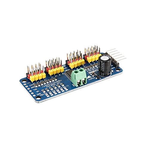 Jasnyfall PCA9685 12 bit 16 Channel PWM Servo Motor Driver I2C Module for Arduino Robot Interface Raspberry PI Shield LED Indicator bleu