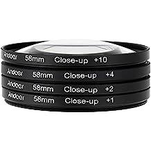 Andoer® 58mm Kit de Filtros de Lente Macro De Cerca Close-Up +1 +2 +4 +10 con Bolsa para Nikon Canon Rebel T5i T4i EOS 1100D 650D 600D DSLRs