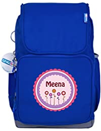 UniQBees Personalised School Bag With Name (Smart Kids Large School Backpack-Blue-Pink Flowers)