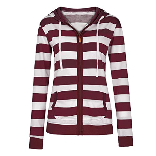 LuckyGirls Femmes Dames Zipper Tops Sweat à Capuche Manteau à Capuchon Veste Casual Slim Jumper(Vin Rouge,XXXX-Large)