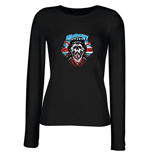 lepni.me Weibliche Langen Ärmeln T-Shirt Anarchie-Königin, Straßenmode, anarchistisches Symbol, antipolitische Kunst (Medium Schwarz Mehrfarben)