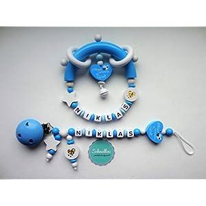 Set Schnullerkette und Greifling mit Namen Herz Kleines Wunder der Welt Gravur Geschenk Taufe Geburt individuell Stern | Junge Blau Namenskette