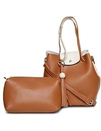 Alvaro Castagnino Brown::Cream Colored Handbag With Pouch For Women