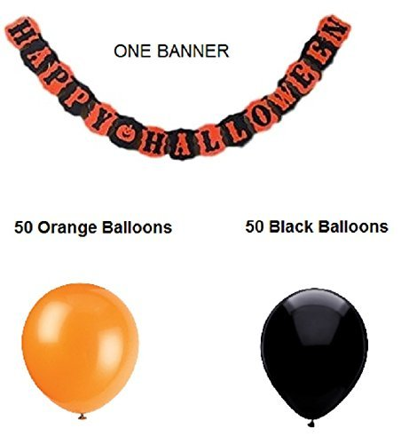 Jolly Jon Happy Halloween Banner Girlande mit Oder Ohne 100 Luftballons Orange und Schwarz - Komplett Halloween Party Dekorationen Produkte Large Banner with 100 Balloons