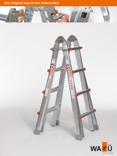 """Preisvergleich Produktbild Teleskopleiter 1,29 m - 4,20 m, das Original""""Made in Germany"""", höhenverstellbar als Anlegeleiter, Bockleiter und Treppenleiter"""