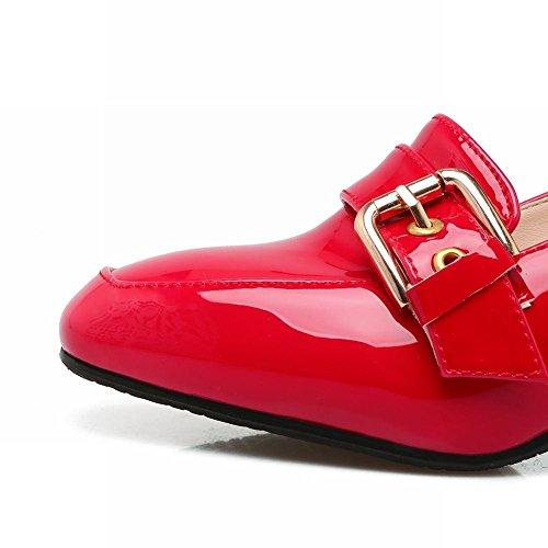 UH Femmes Chaussures Escarpins Vernis de Cheville avec Boucle Bout Carre à Talons Bloc a la Mode et Confortables Rouge