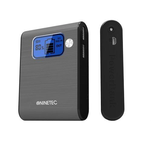 NINETEC Power Bank Akku 10.000 mAh Ladegerät extern USB für Smartphone Tablet NT-565 grau