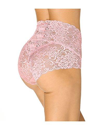 KissLace Damen Spitze Panty hohe Taille Slip Unsichtbare Dehnbare Bequeme Unterhose Hipsters Hellrosa
