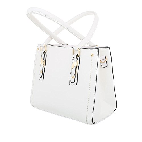 Borsa Donna A Tracolla Medio Ital-hand In Similpelle Ta-k703 Bianca