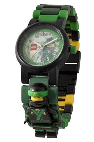 LEGO NINJAGO MOVIE Lloyd Kinder-Armbanduhr mit Minifigur und Gliederarmband zum Zusammenbauen | grün/schwarz| Kunststoff | Gehäusedurchmesser 28 mm | analoge Quarzuhr | Junge/ Mädchen | offiziell