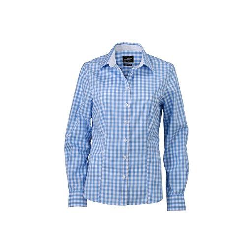 JAMES & NICHOLSON - chemisier vichy manches longues à carreaux - repassage facile - JN616 - Femme bleu glacier - blanc
