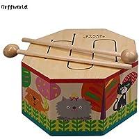 JullyeleESgant Orff World Cartoon Wooden Hand Drum Beating Montessori Instrument con Tres Tonos de Regalo para bebé niño niño Principiante SYG (S)