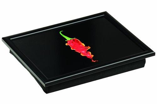 Premier Housewares Knietablett Flaming Chilli 44x31 cm, Baumwolle, MDF, schwarz, 34x44x6