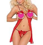 iEFiEL Erotik Dessous Set Damen Ouvert String Body Negligee G-String Nachtwäsche Reizwäsche...