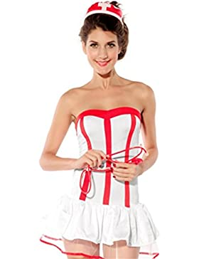 Befox Nurse Lingerie White Nurse Uniform Lingerie para las mujeres Halloween Cosplay