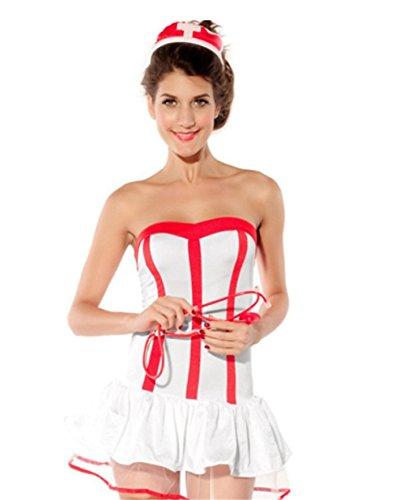 Befox Krankenschwester Dessous Weiße Krankenschwester Uniform Sexy Dessous für Frauen Halloween Cosplay (Krankenschwester Uniform Sexy)