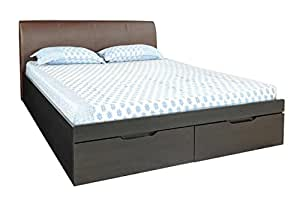 Zuari Adam King Size Bed with Storage (Dark Finish, Brown)
