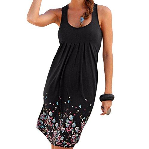 Damen Sommerkleid ohne ärmel knielang Strandkleid Elegant Partykleid cocktailkleid Spitze Druck A-Linie Kleider (Neue Shorts Baumwolle Damen Spandex)