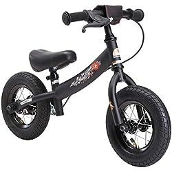 BIKESTAR - Bicicleta de Equilibrio para niños de 2 años con neumáticos de Aire y Frenos, 10 Pulgadas, edición Deportiva, Color Negro