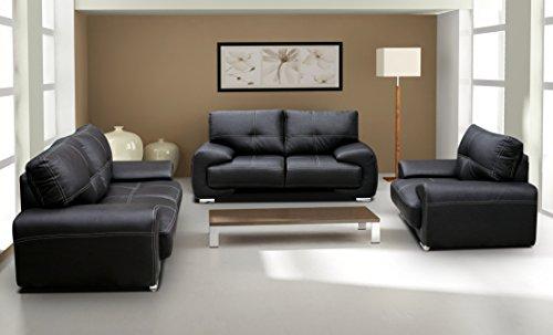 Polstergarnitur Sofa Set 3er & 2er Wohnlandschaft 3-Sitzer und 2-Sitzer mit Sessel Möbel Set - FLORIDA (Schwarz)