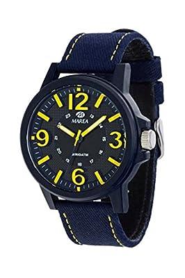 Reloj Marea Caballero, correa de loneta, Esfera Azul con numeros en amaillos, Cristal mineral, Tamaño, 44 mm grueso 9 mm. Garantia 2 Años.