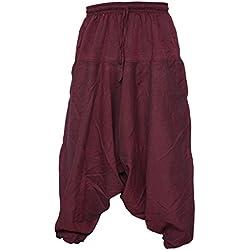 Pantalones estilo ninja, genio, Aladino, harén Little Kathmandu, pantalones de algodón ligero para hombres rojo rojo (Maroon) S