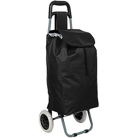 TecTake Carro carrito de la compra plegable con ruedas cesta con bolsillo extra negro