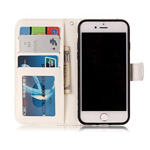 iPhone 7 Coque, Voguecase Étui en cuir synthétique chic avec fonction support pratique pour Apple iPhone 7 4.7 (Hibou Campanula 02)de Gratuit stylet l'écran aléatoire universelle Panda 09