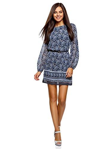 oodji Ultra Damen Kleid aus Fließendem Stoff mit Gürtel, Blau, DE 38 / EU 40 / M