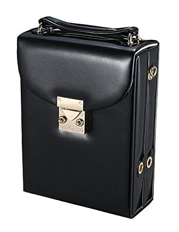 iSuperb® Bijoux Boîte Organisateur Cas PU cuir Display Storage Case Bag Voyage pour les anneaux Boucles d'oreilles Bangle collier avec sangle amovible pour les filles 18.5x13x5.5cm (Noir)
