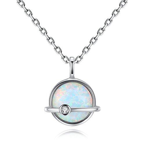 gemshadow weiß Opal Halskette 925Sterling Silber Oktober Geburtsstein Schmuck für Frauen (Mutter Der Bräutigam-anhänger)