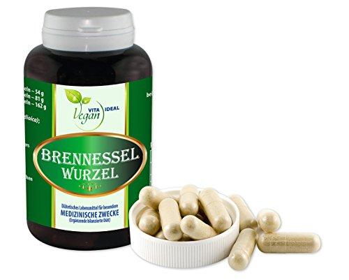 Vegan Brennessel Wurzel 180 pflanzliche Kapseln, je 350 mg rein natürliches Pulver, ohne Zusatzstoffe
