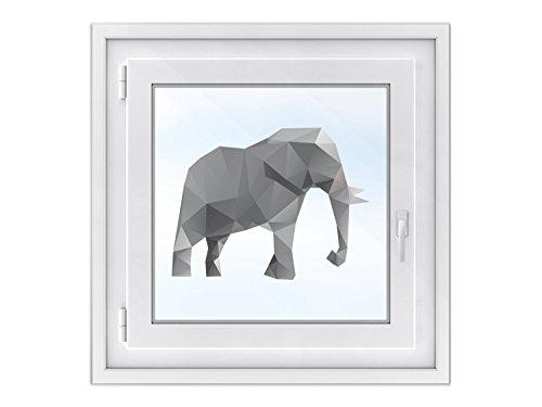 fototapete dachfenster Kinderzimmer Fenster-Tattoo - hochwertige Fensterfolie | individuelle Glasdekorfolie für Spiegel - dekoratives Fenster-Bild | leicht anbringbare Klebefolie | Design Origami Elephant - 50 x 38 cm