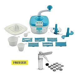 Floraware 14-Piece Manual Food Processor & 14-Piece Kitchen Press Combo, Blue