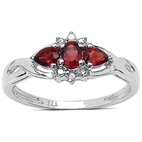 Die Garnet-Kollektion: Diamant-Ring und Sterling Silber Garnet Damen 0.46ctw Genuine Granat und 2 Diamanten, Muttertag Geschenk, Ring Größe 58 (Granat Silber Ring Ewigkeit)