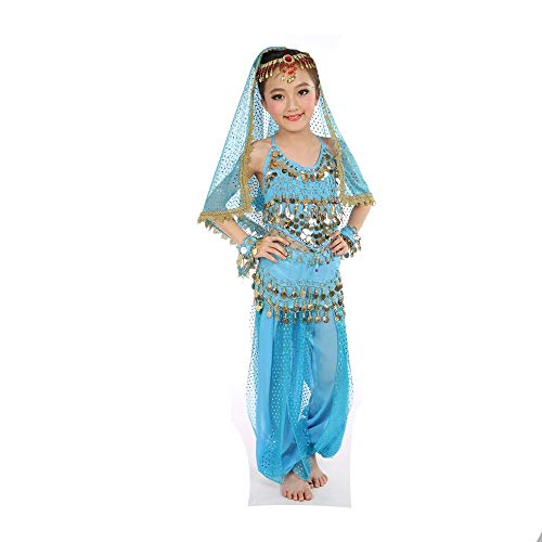 Kostüm Head Girl - GONGXI Hotselling Girls Indian Belly Dance Costume Cheap Tops & Pants & Waist & Head Chain & Veil (Fünf),Blue,S