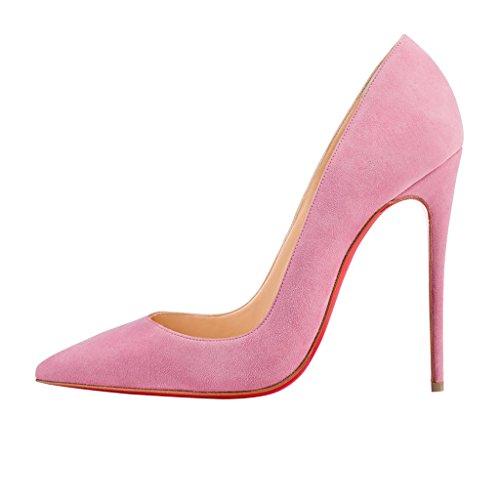 NANCY JAYJII - Femmes - Stiletto - Blanc ou Rose ou Dégradé Rose & Noir - Cuir brillant véritable - Talon aiguille - Bout pointu fermé Rose