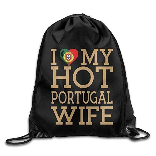 Naiyin Unisex Drawstring Backpack, I Love My Hot Portugal Wife Print Drawstring Backpack Rucksack Shoulder Bags Gym Bags Sport Bag (Stuff Store Hot Erwachsenen)
